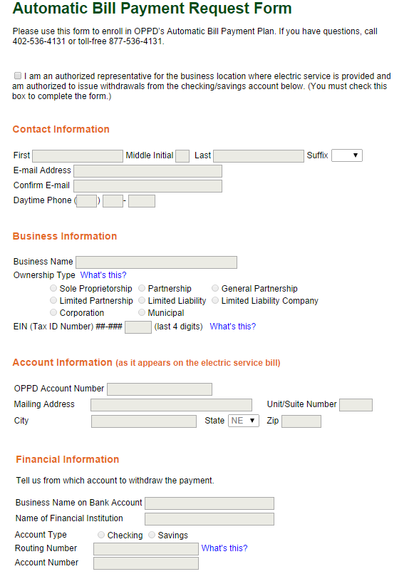 Auto Bill Payer : Oppd automatic bill payment form informerbox